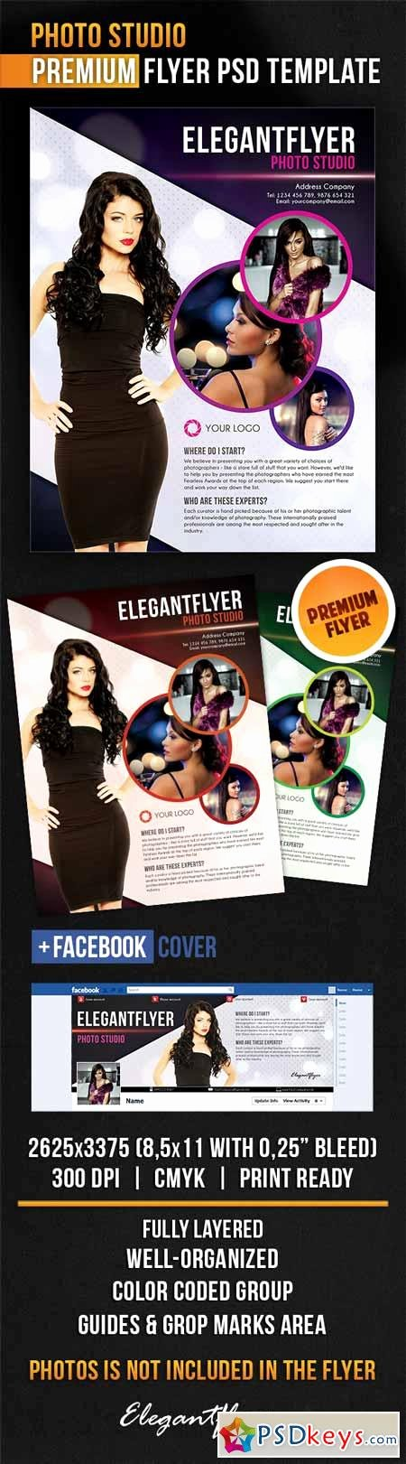 photo studio flyer psd template cover
