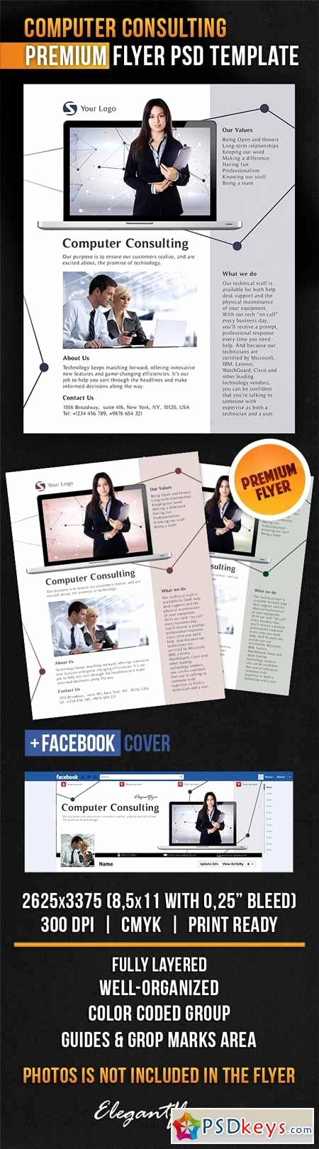 Facebook Ad Template Psd Beautiful Puter Consulting – Flyer Psd Template Cover