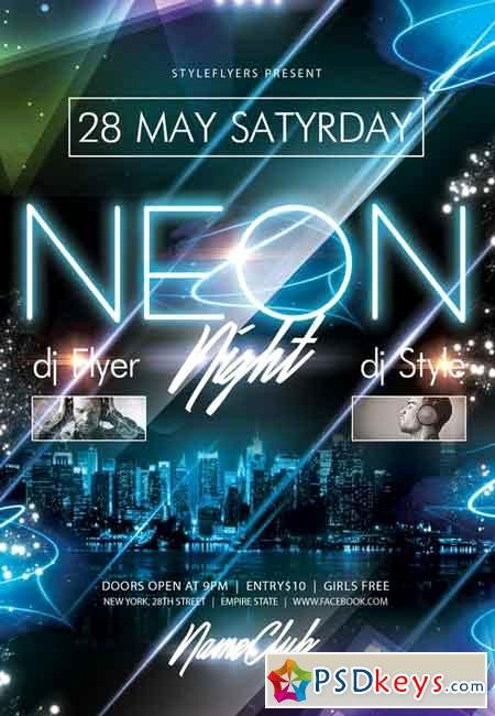 Facebook Ad Template Psd Lovely Neon Party Psd Flyer Template Cover Free