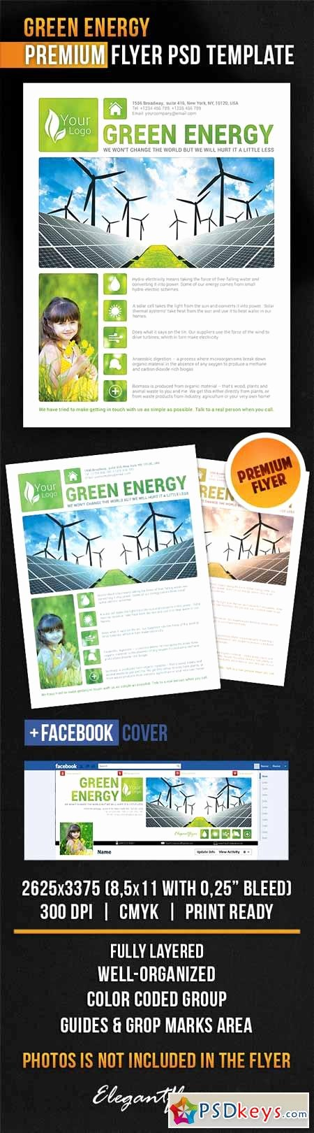 Facebook Cover Template Psd Luxury Green Energy – Flyer Psd Template Cover Free