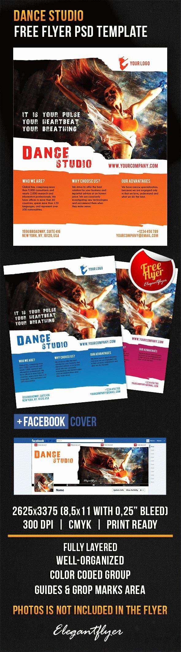Facebook Cover Template Psd Unique Get Free Flyer Template Shop Dance Studio