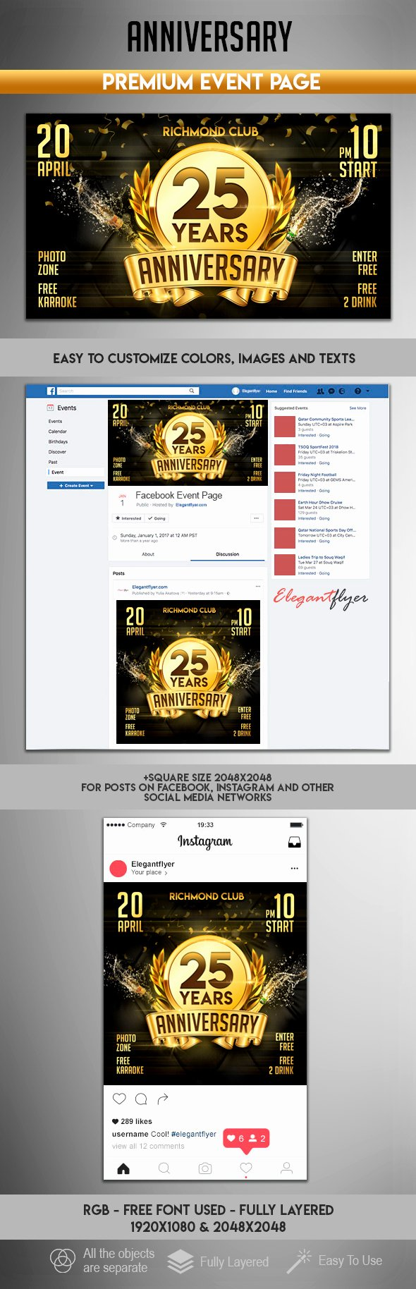 Facebook event Photo Template Beautiful Anniversary – event Instagram Template – by