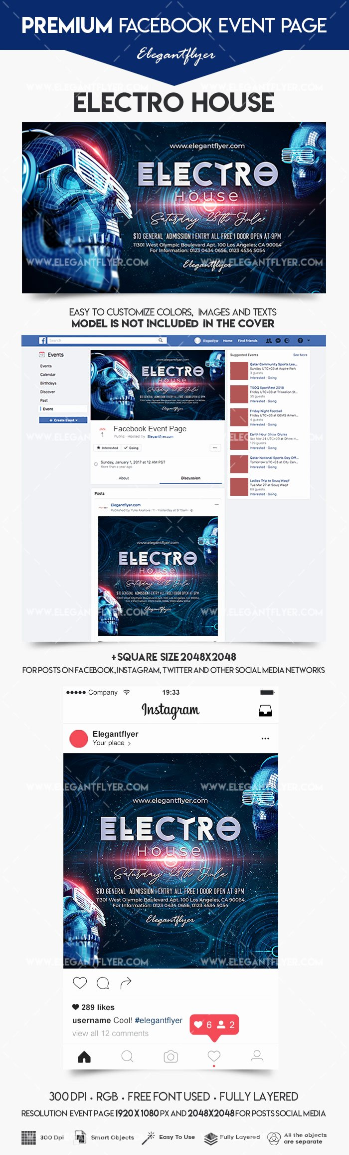 Facebook event Photo Template Beautiful Electro House – event Instagram Template – by