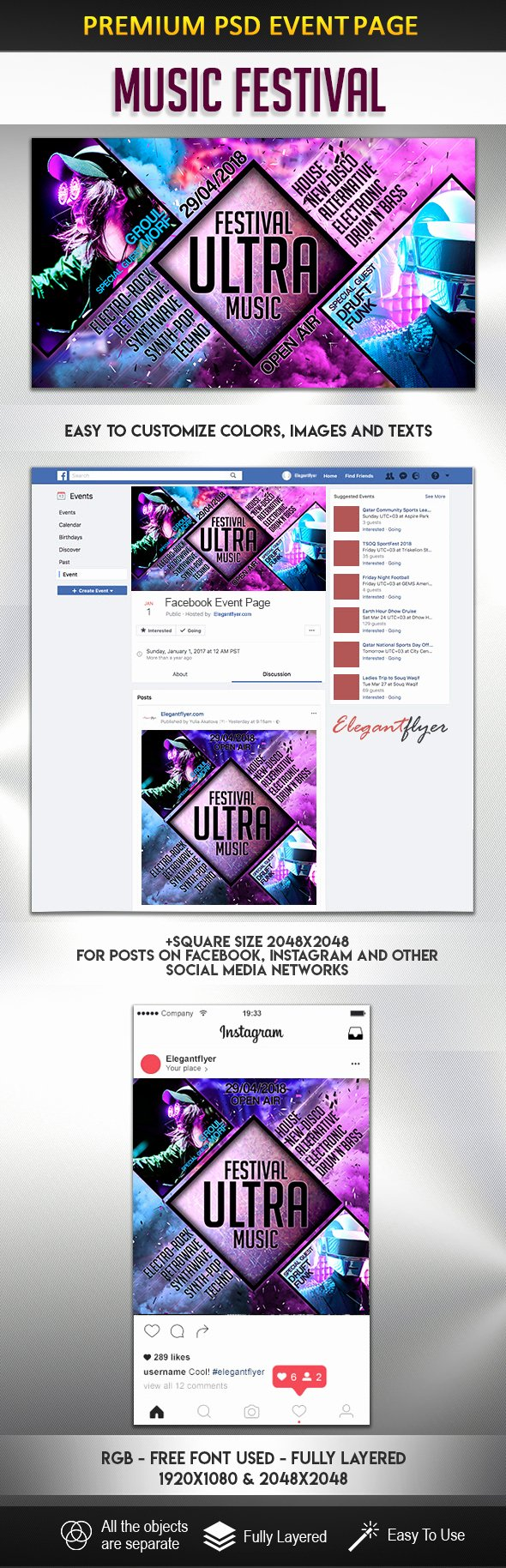 Facebook event Photo Template Lovely Music Festival – event Instagram Template – by