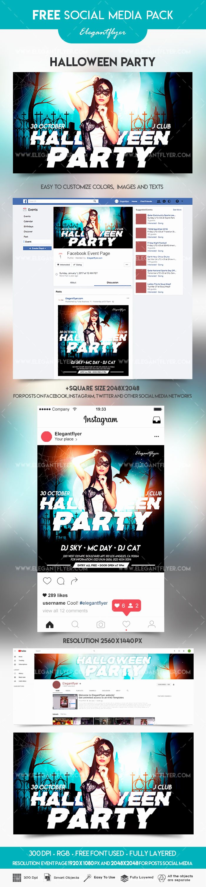 Facebook event Photo Template Luxury Halloween Party – event Instagram Template – by