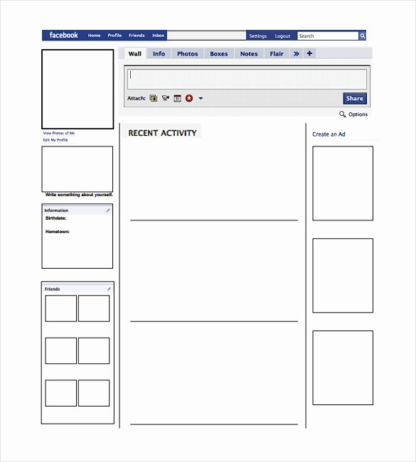 Facebook Page Template Pdf Fresh Blank Template – 11 Free Word Ppt & Psd