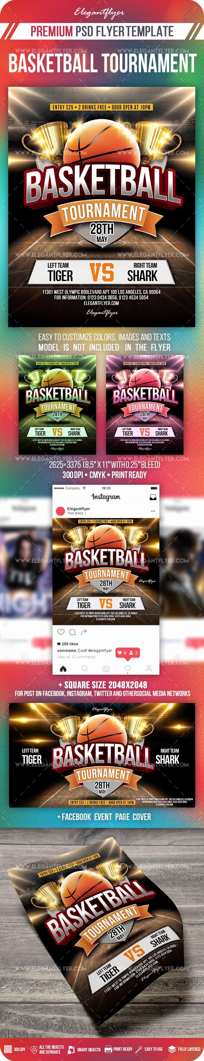Facebook Post Template Psd Beautiful Basketball tournament – Psd Flyer Template