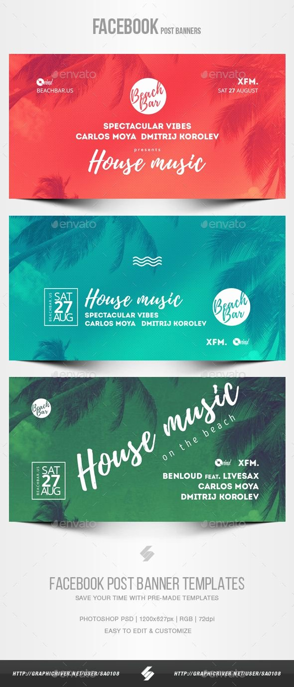 Facebook Post Template Psd Fresh Electronic Music Party Vol 18 Post Banner