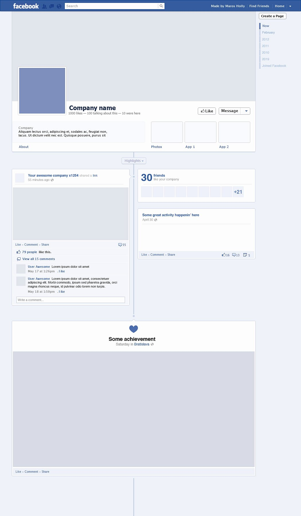 Facebook Post Template Psd Fresh Timeline Free Graphics