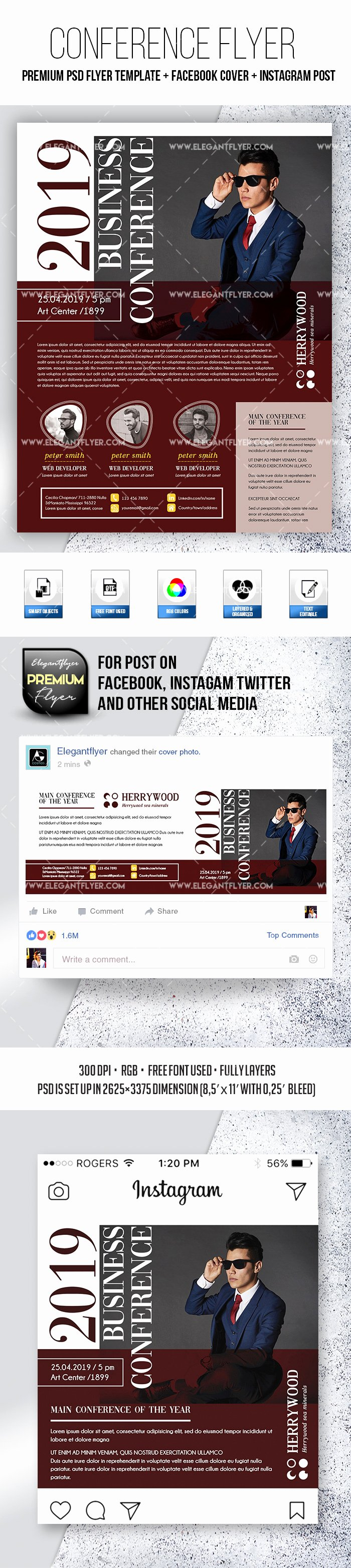 Facebook Post Template Psd New Conference 2019 – Psd Flyer Template Cover
