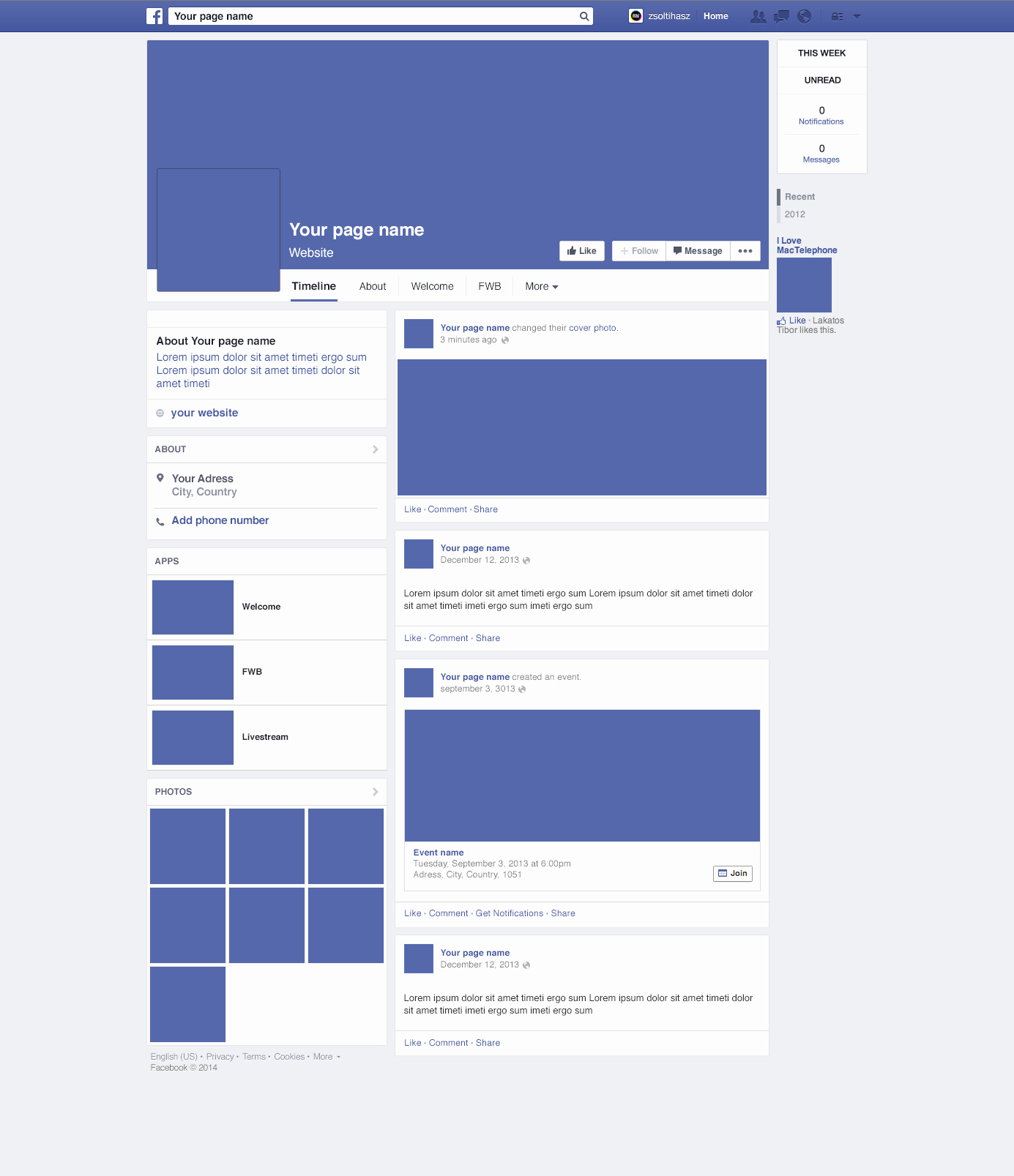 Facebook Profile Page Template Best Of Page Redesign 2014 Mockup Psd Download Download Psd