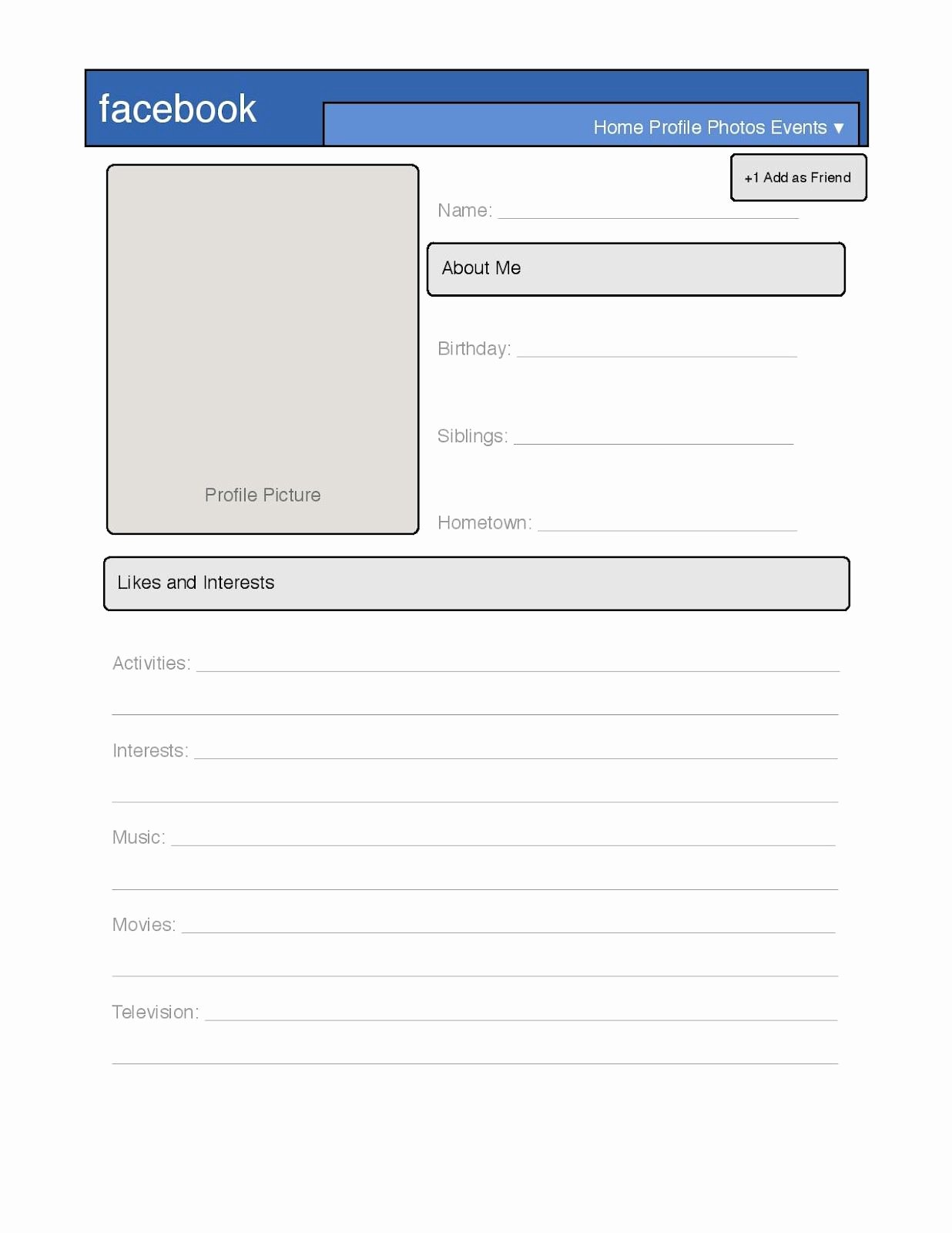 Facebook Profile Page Template Elegant Simple Profile Template Great for Introduction