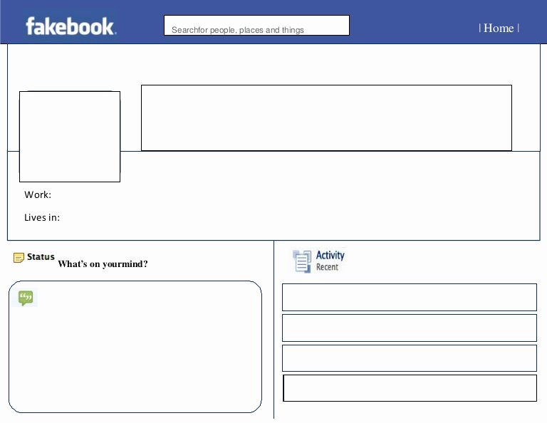 Facebook Profile Page Template Unique Blank Fakebook