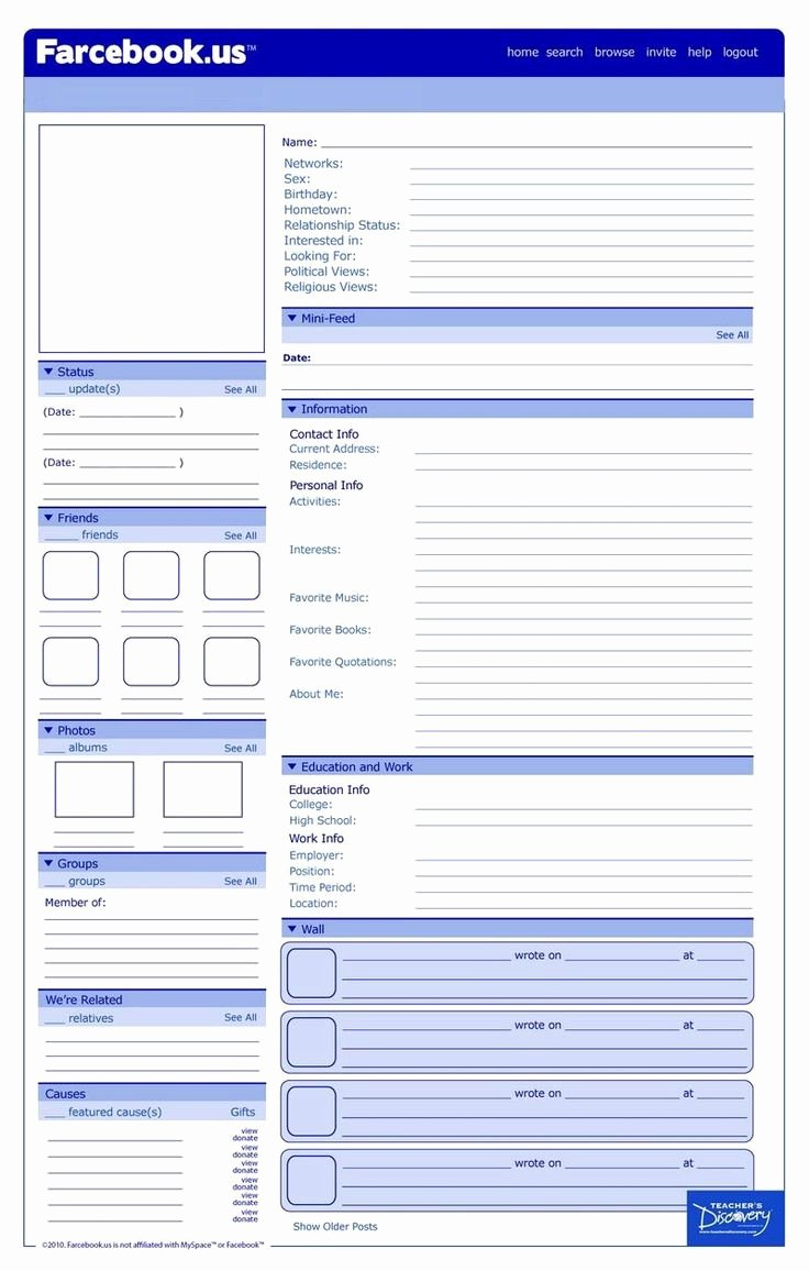 Facebook Template for Students Lovely Best 25 Profile Template Ideas On Pinterest