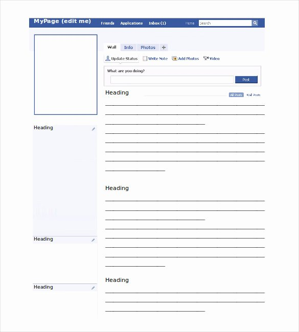 Facebook Template for Students New Page Template