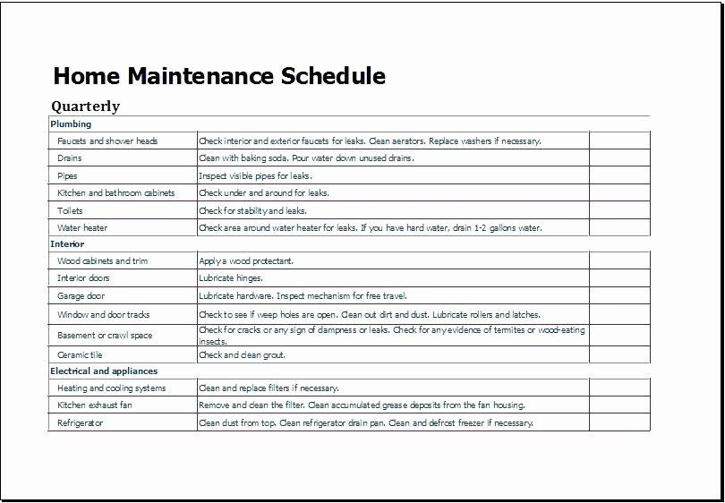 Facility Maintenance Plan Template Fresh Building Maintenance Plan Template Free Download Schedule
