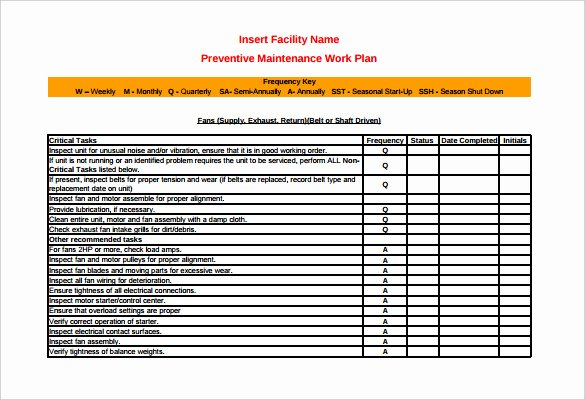 Facility Maintenance Plan Template Luxury 37 Preventive Maintenance Schedule Templates Word