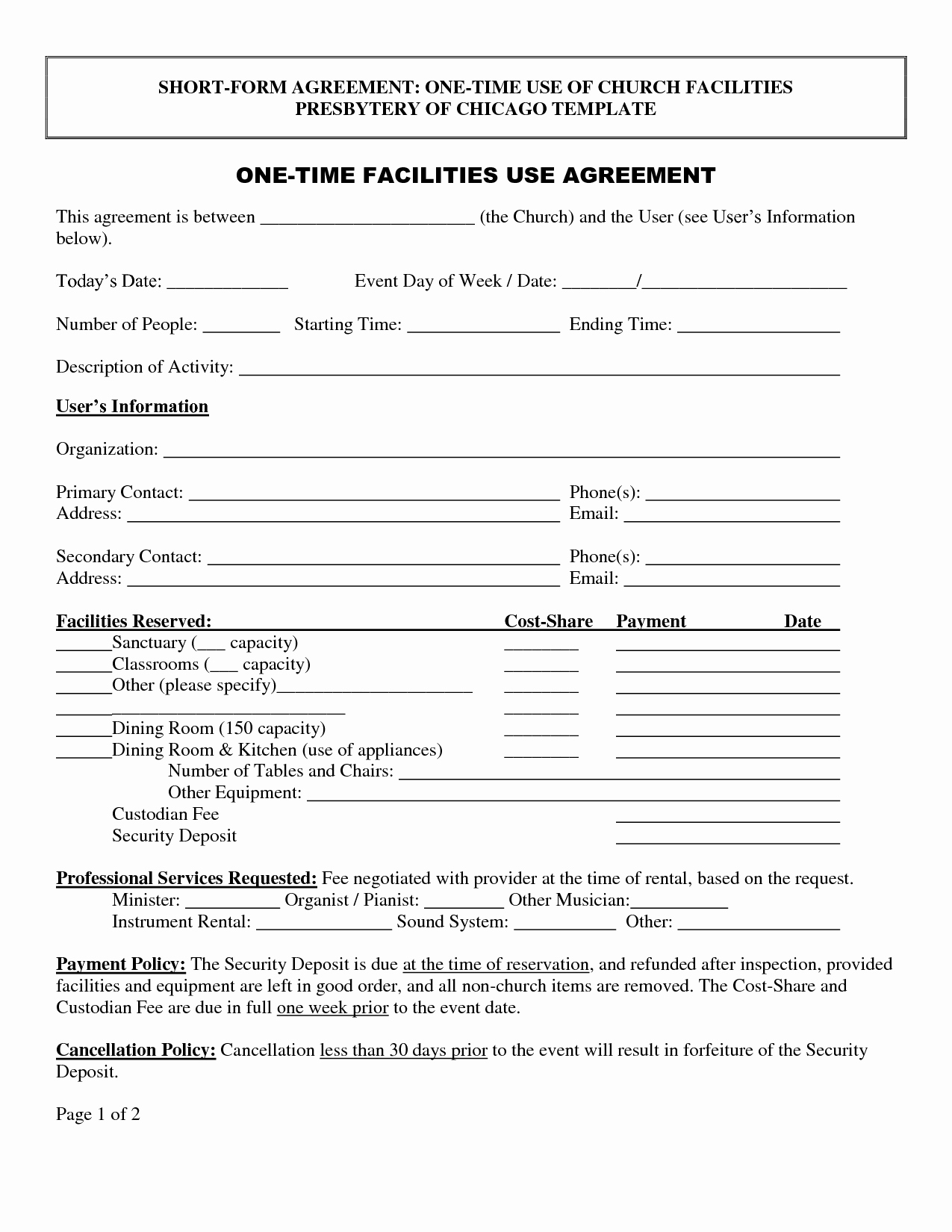 Facility Rental Agreement Template Awesome Agreement Template Category Page 50 Efoza