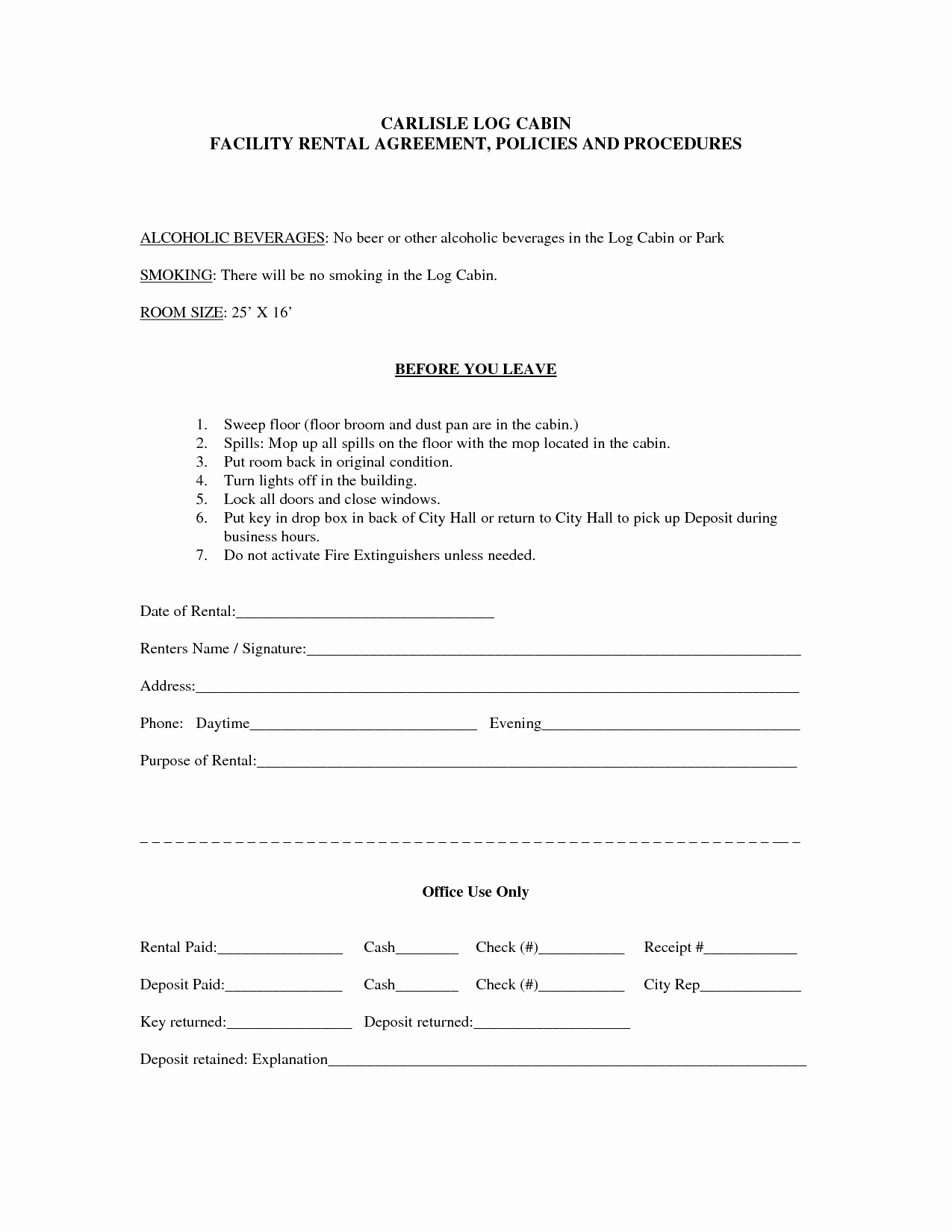 Facility Rental Agreement Template Inspirational Rent Lease form Bamboodownunder