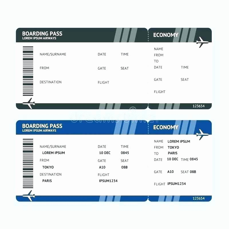 Fake Airline Ticket Template Best Of Plane Ticket Template Picture