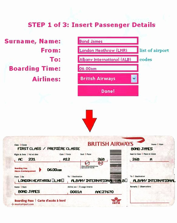 Fake Airline Ticket Template Lovely Make Your Own Fake Boarding Pass Plane Ticket F – Nnarg
