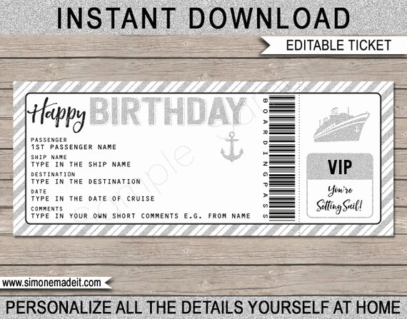 Fake Boarding Pass Template Best Of Birthday Gift Cruise Ticket Fake Boarding Pass