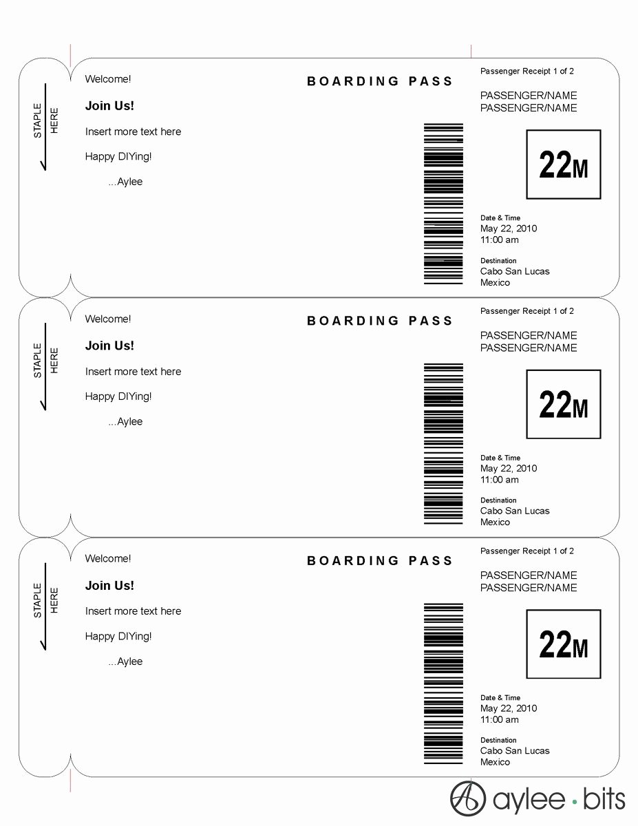 Fake Boarding Pass Template Luxury Boarding Pass Invitation Template by Ayleebits