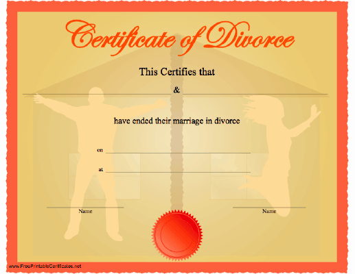 Fake Divorce Papers Template Fresh A Celebratory Funny Certificate Of Divorce Showing