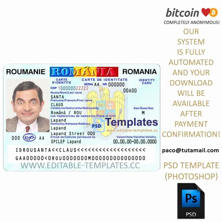 Fake Id Template Download Best Of Fully Editable Romanian Id Template Psd Template