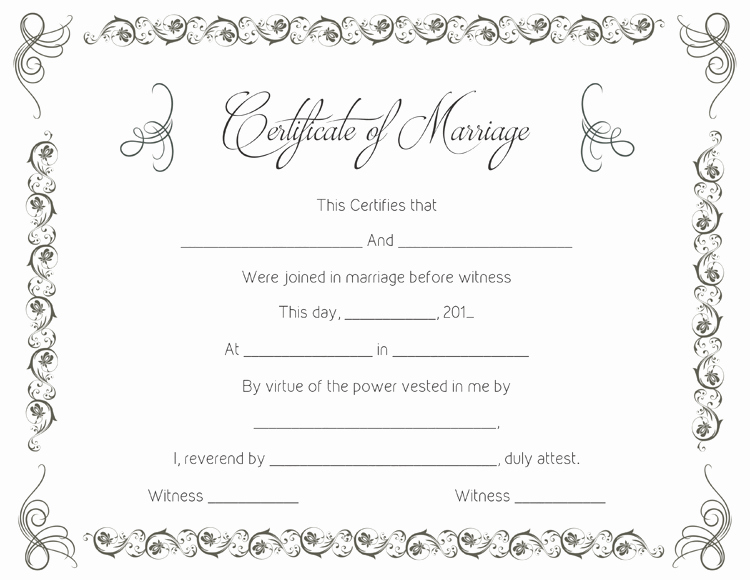 Fake Marriage Certificate Template Awesome Printable Marriage Certificate Templates 10 Editable