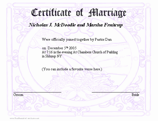 Fake Marriage Certificate Template Beautiful Best S Of Printable Fake Marriage License Printable