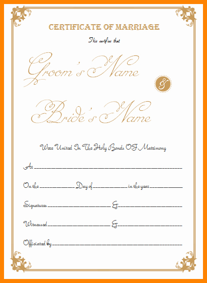 Fake Marriage Certificate Template Elegant 6 Fake Marriage Certificate Template