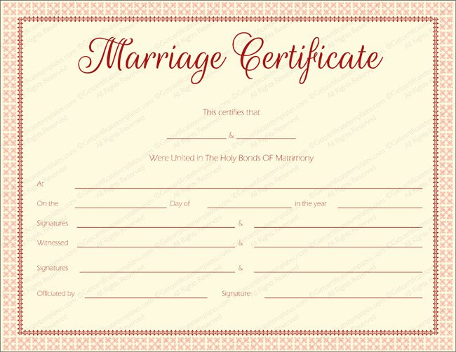 Fake Marriage Certificate Template Elegant Maroon Delight Marriage Certificate Template Marriage