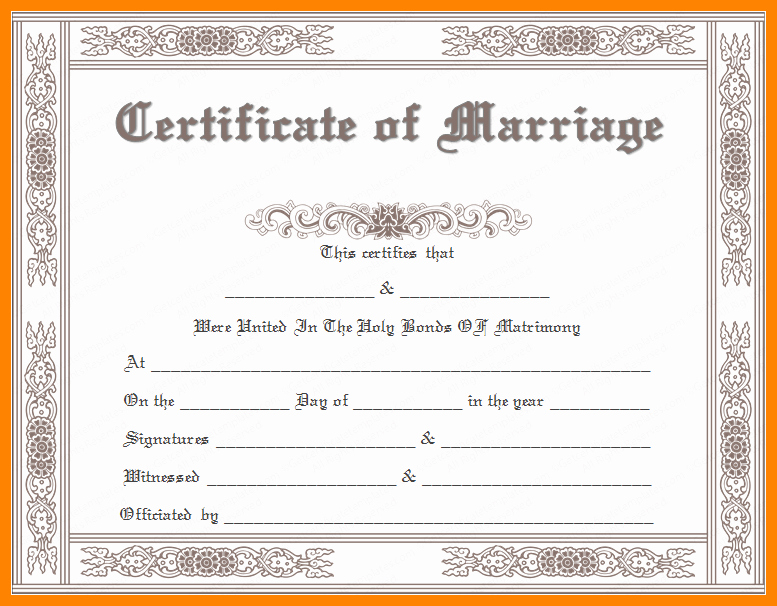 Fake Marriage Certificate Template Inspirational Marriage License Frame Qd01