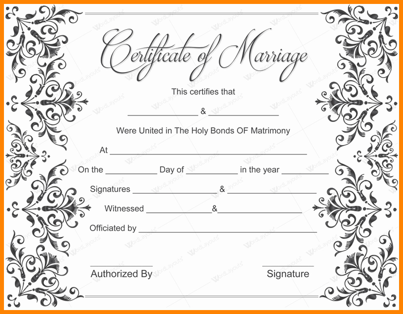 Fake Marriage Certificate Template Lovely 9 Fake Printable Marriage Certificate