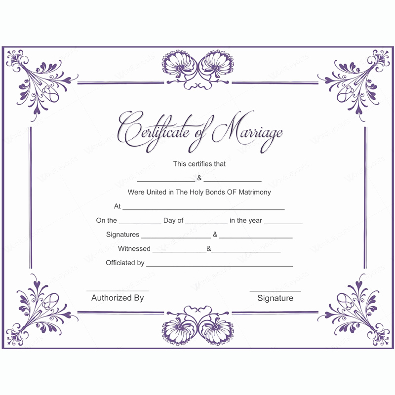 Fake Marriage Certificate Template Unique 5 Plus Adorable Blank Marriage Certificate Designs for Word