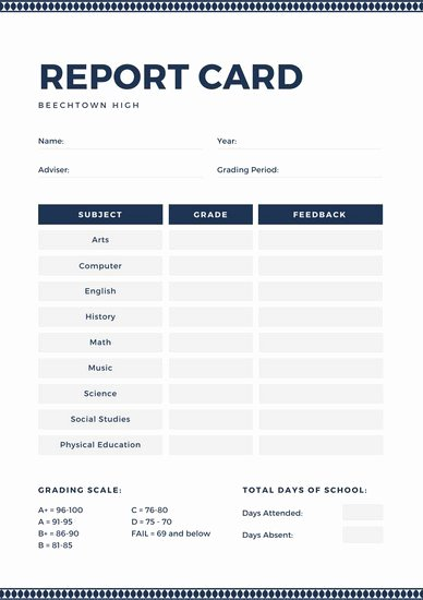 Fake Report Card Template New High School Report Card Template