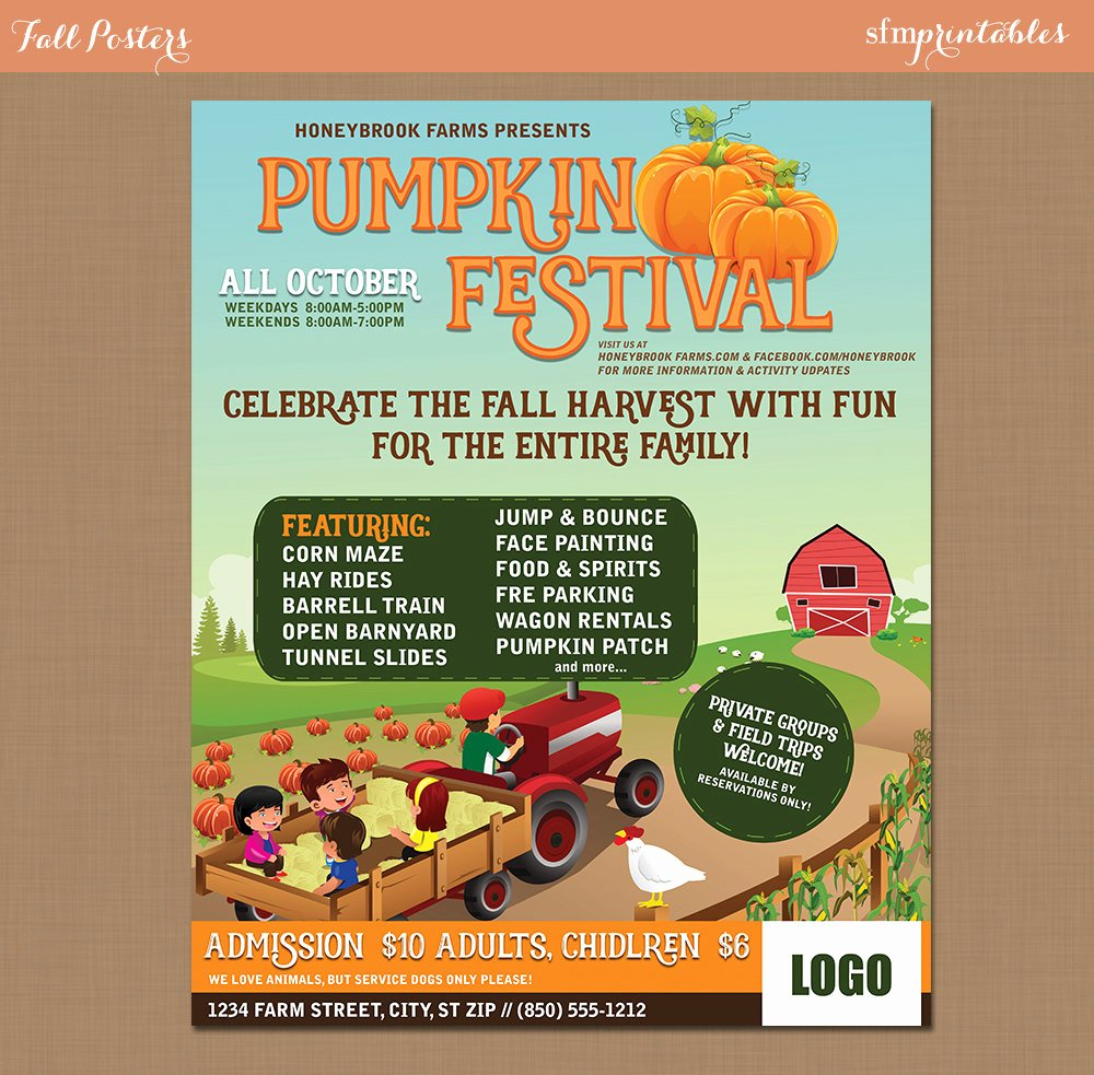 Fall Fest Flyer Template Awesome Fall Festival Harvest Invitation Poster Flyer Pumpkin Patch
