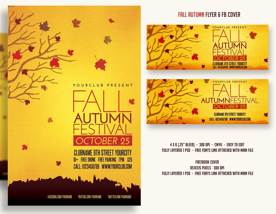 Fall Fest Flyer Template Beautiful Fall Autumn Festival Flyer & Fbcover Flyer Templates