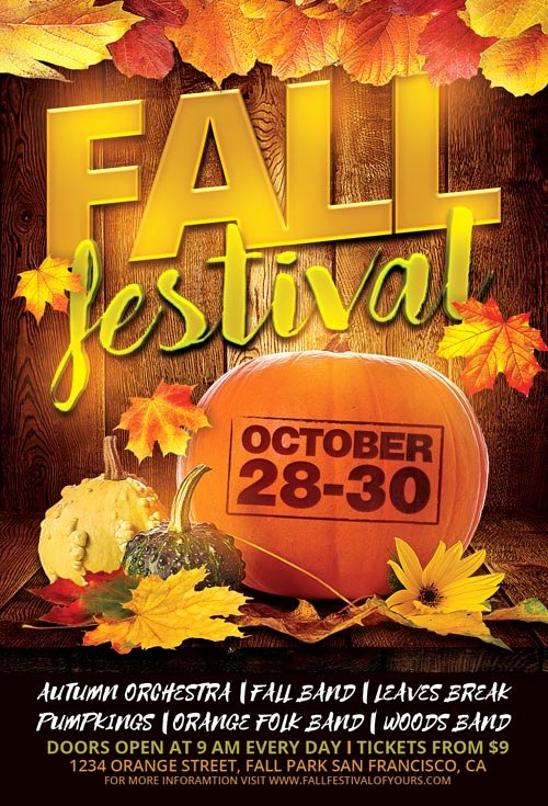 Fall Fest Flyer Template Elegant Fall Festival Flyer Template for Shop