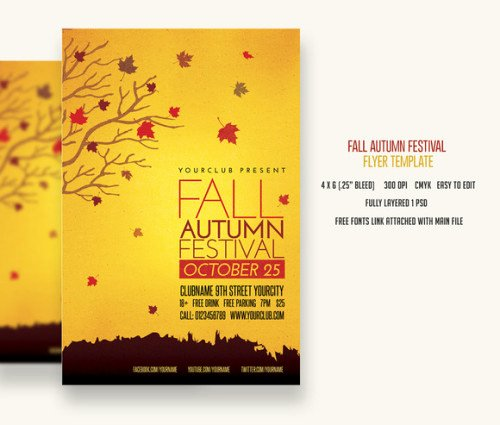 post free fall festival flyer template psd