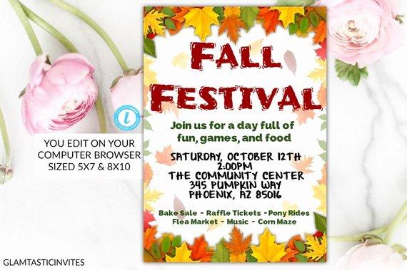Fall Festival Flyer Template Beautiful Fall Festival Flyer Template Invitation Editable Printable