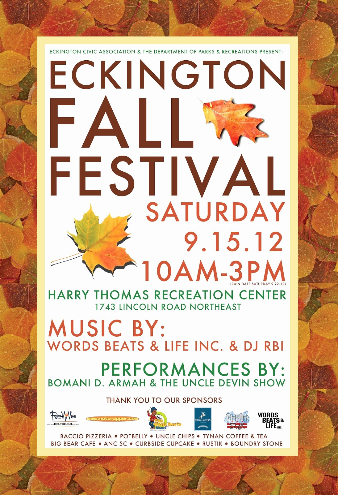 Fall Festival Flyer Template Best Of Bloomingdale today the Eckington Fall Festival at the