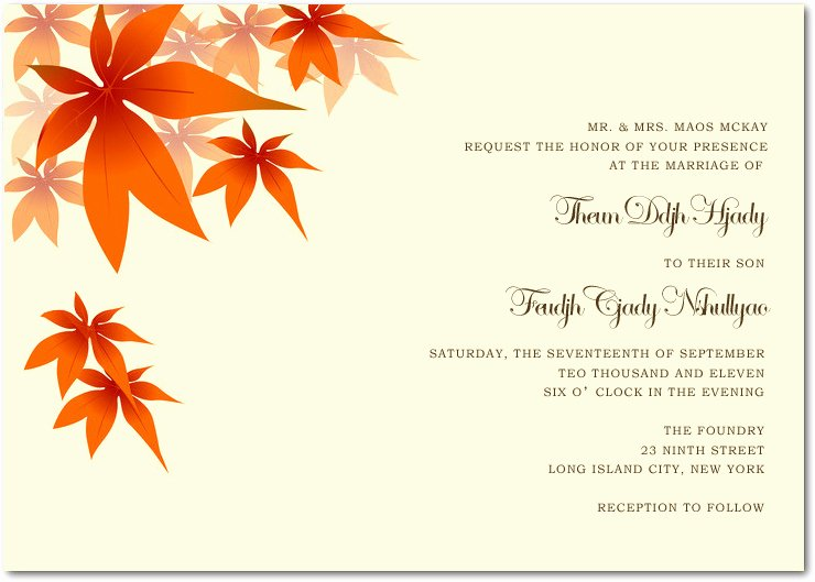 Fall Party Invitation Template Awesome Wedding Invitation Wording Etiquette Fall Wedding