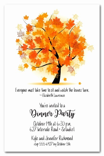 Fall Party Invitation Template Beautiful Autumn Maple Tree Invitations Fall Party Invitations