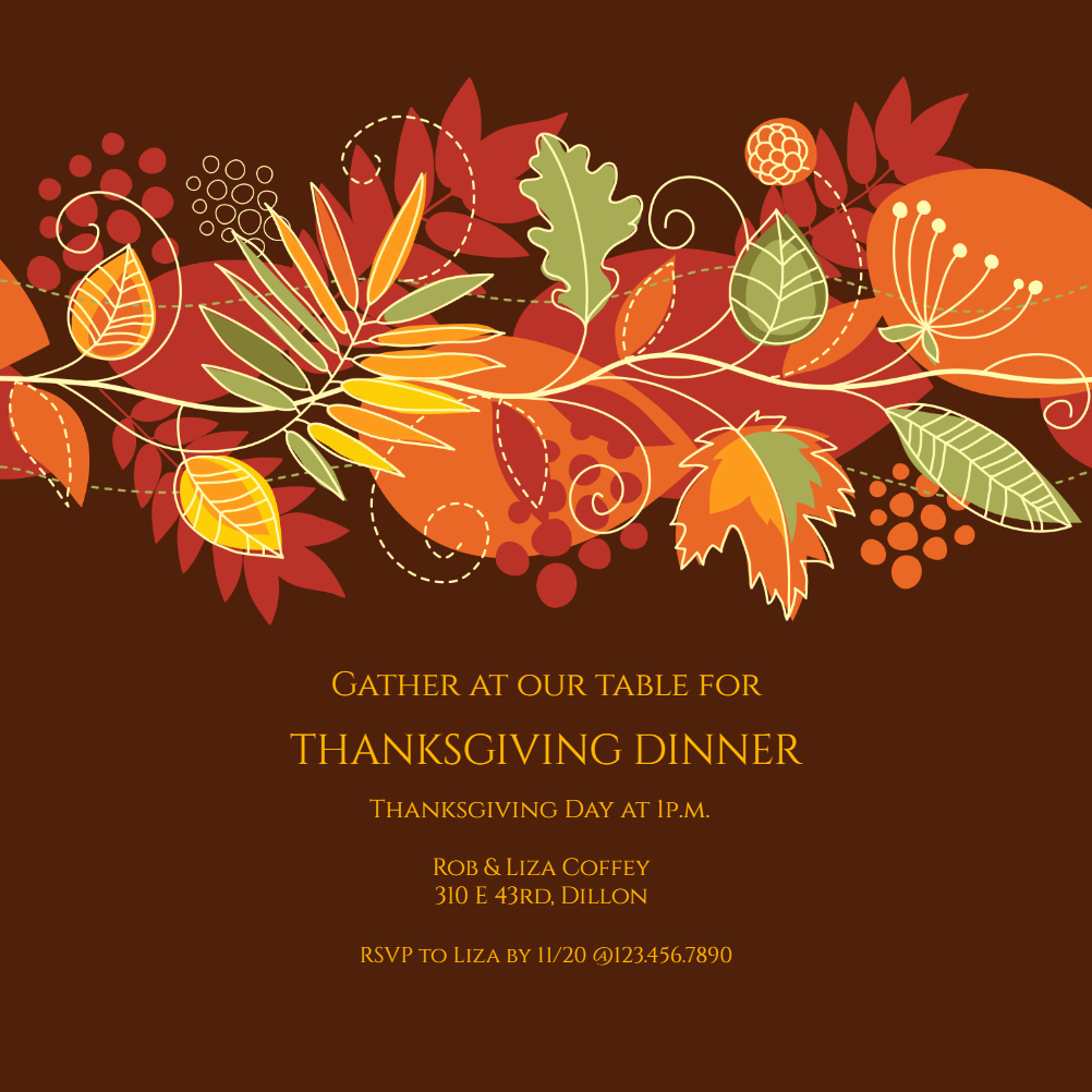 Fall Party Invitation Template Beautiful Festive Fall Free Thanksgiving Invitation Template