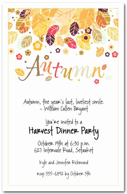 Fall Party Invitation Template Best Of Autumn Season Invitations Fall Invitations