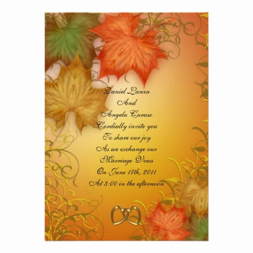 "Fall Party Invitation Template Elegant Fall Wedding Invitation or Party 5"" X 7"" Invitation Card"