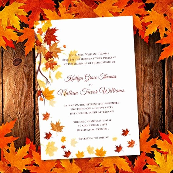 Fall Party Invitation Template Fresh Printable Wedding Invitation Template Falling by