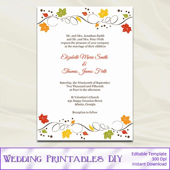 fall wedding invitations template diy